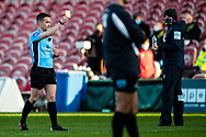 todays referee, Luke Pearce shows the yellow card to Billy Twelvetrees of Gloucester Rugby (not  shown) during the Gallagher Premiership Rugby match between Gloucester Rugby and Exeter Chiefs at the Kingsholm Stadium, Gloucester, United Kingdom on 26 March 2021.