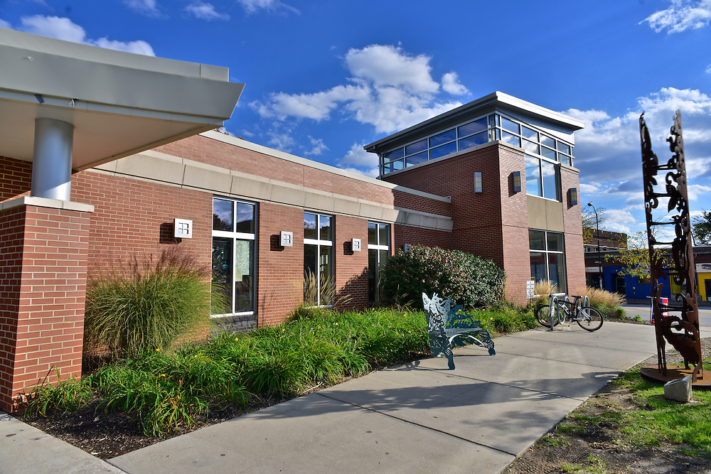 Front view of the Highland Square Branch of the Akron-Summit County Public Library.