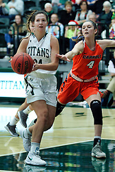 BLOOMINGTON, IL - December 15: Kendall Sosa and Kayla Stefkaduring a college women's basketball game between the IWU Titans  and the Carroll Pioneers on December 15 2018 at Shirk Center in Bloomington, IL. (Photo by Alan Look)