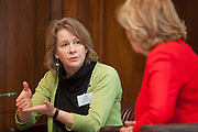 Marg Mayne VSO Ceo in discussion with Lesley Abdela, chair of the VSO's Godmothers event. Campaigners gathered to ensure the Government gives substantial financial support to UN Women, putting an end to discrimination against women around the world.