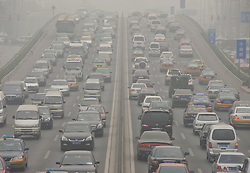 Heavy traffic and pollution on the Third Ring Road in central Beijing