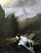 Storm on the Matterhorn'. Oil on canvas. Gustave Dore (1832-1833) French painter and illustrator. Landscape Cloud Mountain Peak Tree Wind Stream Torrent