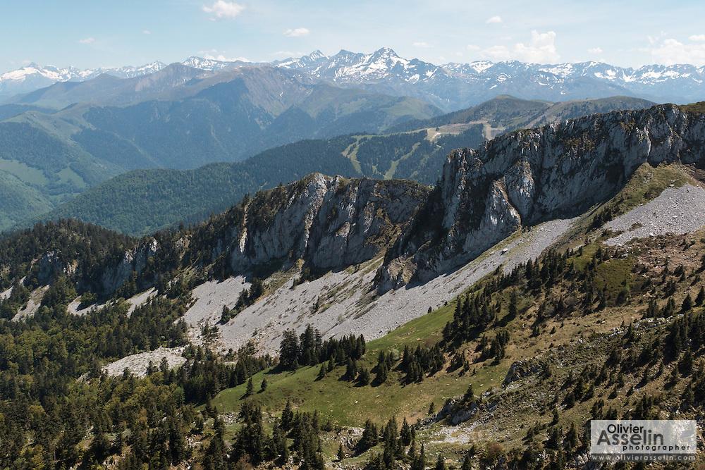 View of the Pyrenees from a ridge near Col du Pas de l'Ane, Haute-Garonne, Midi-Pyrenees, France.