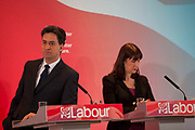 London, UK. Wednesday 29th April 2015. Labour Party Leader Ed Miliband, and Shadow Secretary of State for Work and Pensions Rachel Reeves at a General Election 2015 campaign event on the Tory threat to family finances, entitled: The Tories' Secret Plan. Held at the Royal Institute of British Architects.