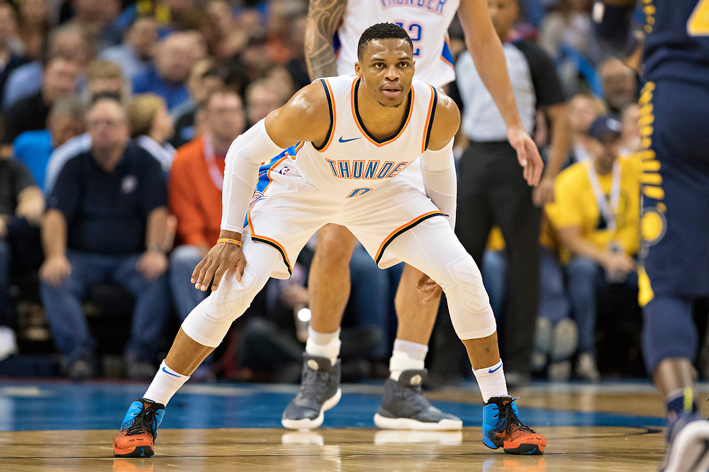 OKLAHOMA CITY, OK - OCTOBER 25:  Russell Westbrook #0 of the Oklahoma City Thunder playing defense during a game against the Indiana Pacers at the Chesapeake Energy Arena on October 25, 2017 in Oklahoma City, Oklahoma.  NOTE TO USER: User expressly acknowledges and agrees that, by downloading and or using this photograph, User is consenting to the terms and conditions of the Getty Images License Agreement.  The Thunder defeated the Pacers 114-96.  (Photo by Wesley Hitt/Getty Images) *** Local Caption *** Russell Westbrook