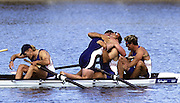 Sydney Olympics 2000 - Penrith Lakes, NSW. GBR M4- after crossing the finishing line, celebrate winning the Olympic Gold Medal left Tim Foster, Matthew Pinsent, Steve Redgrave and james Cracknell.  © 2000 All Rights Reserved - Peter Spurrier Sports Photo. .Tel 44 (0) 1784-440 771  .Mobile 44 (0) 973 819 551.email images@intersport-images.com 2000 Olympic Regatta Sydney International Regatta Centre (SIRC) 2000 Olympic Rowing Regatta00085138.tif