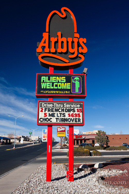 Arby's sign with Aliens Welcome display, Roswell, New Mexico, United States of America