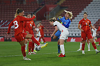 Football - 2021/ 2022  - Women's World Cup UEFA Qualifer - England Women vs. North Macedonia - St Mary's Stadium - Friday 17th September<br /> <br /> Julija Zivikj of North Macedonia slices her clearance to score an own goal at St Mary's Stadium Southampton England<br /> <br /> COLORSPORT/Shaun Boggust