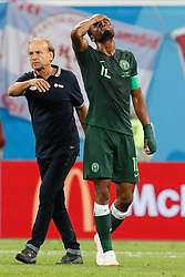 June 26, 2018 - Saint Petersburg, Russia - Nigeria national team head coach Gernot Rohr (L) and John Obi Mikel react after the 2018 FIFA World Cup Russia group D match between Nigeria and Argentina on June 26, 2018 at Saint Petersburg Stadium in Saint Petersburg, Russia. (Credit Image: © Mike Kireev/NurPhoto via ZUMA Press)