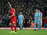 Stoke's Joe Allen looks on dejected after Liverpool's Adam Lallana's goal during the Premier League match at Anfield Stadium, Liverpool. Picture date December 27th, 2016 Pic David Klein/Sportimage