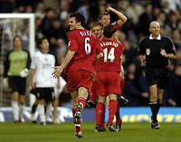 Fotball<br /> Premier League 2004/2005<br /> Foto: BPI/Digitalsport<br /> NORWAY ONLY<br /> <br /> Fulham v Liverpool<br /> 16.10.2004<br /> <br /> Delight for John Arne Riise after Liverpool made it 4-2
