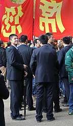 © Licensed to London News Pictures. 20/10/2015. London, UK. Chinese security officials stand in The Mall  as a four day State Visit to the United Kingdom by Chinese President Xi Jinping gets under way. Photo credit: Peter Macdiarmid/LNP
