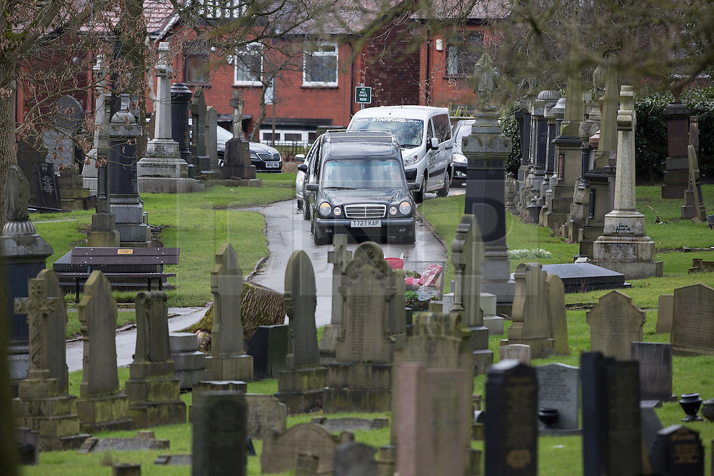 © Licensed to London News Pictures . 03/03/2016 . Manchester , UK . The cortege takes 11 year old Shahzaib Hussain 's coffin to Ashton Hurst Cemetary in Ashton Under Lyne , to be laid to rest. Shahzaib was killed by a hit and run driver outside the mosque , on Monday 29th February 2016 . Photo credit : Joel Goodman/LNP