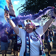 ORLANDO, FL - APRIL 23: Orlando Pride supporters march to the stadium prior to a NWSL soccer match between the Houston Dash and the Orlando Pride at the Orlando Citrus Bowl on April 23, 2016 in Orlando, Florida. (Photo by Alex Menendez/Getty Images) *** Local Caption ***