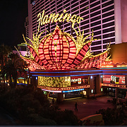 The Flamingo Hotel on the Las Vegas Strip draws visitors in Las Vegas, Nevada on Monday, October 19, 2020. (Alex Menendez via AP)