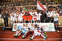 Les joueurs de l'AS Monaco FC celebrent au Stade Louis II leur titre de champion de France de Ligue 2 pour la saison 2012 / 2013 en compagnie du coach Claudio Ranieri, sous les yeux du President du club Dmitry Rybolovlev.