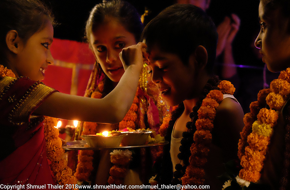 Children at Sri Ram Ashram orphanage portray Ram, Sita and other characters from the Ramayana story during the celebration of Choti Diwali.<br /> Photo by Shmuel Thaler <br /> shmuel_thaler@yahoo.com www.shmuelthaler.com