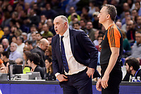 Real Madrid's coach Pablo Laso and referee during Turkish Airlines Euroleague match between Real Madrid and Maccabi at Wizink Center in Madrid, Spain. January 13, 2017. (ALTERPHOTOS/BorjaB.Hojas)