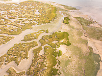 Abstract aerial view of Formosa lagoon, Portugal