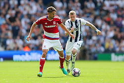 Gaston Ramirez of Middlesbrough is challenged by James McClean of West Bromwich Albion - Rogan Thomson/JMP - 28/08/2016 - FOOTBALL - The Hawthornes - West Bromwich, England - West Bromwich Albion v Middlesbrough - Premier League.
