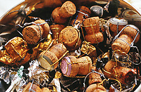 Collection of Champagne corks at a wine tasting in France