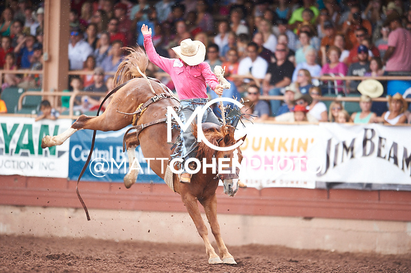 Saddle bronc rider Casey Maddox of Wichita Falls, TX rides Ring Binder at the Pikes Peak or Bust Rodeo in Colorado Springs, CO.<br /> <br /> <br /> UNEDITED LOW-RES PREVIEW<br /> <br /> <br /> File shown may be an unedited low resolution version used as a proof only. All prints are 100% guaranteed for quality. Sizes 8x10+ come with a version for personal social media. I am currently not selling downloads for commercial/brand use.