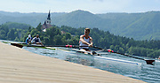 Bled, SLOVENIA, General View,  USA M1X, Warren ANDERSON, Boating for a training session.  1st FISA World Cup, on Lake Bled.  Thursday  27/05/2010, Church, Island, [Mandatory Credit Peter Spurrier/ Intersport Images]