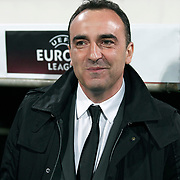 Besiktas's coach Carlos Carvalhal during their UEFA Europa League Group Stage Group E soccer match Besiktas between Stoke City at Inonu stadium in Istanbul Turkey on Wednesday December 14, 2011. Photo by TURKPIX