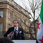 Mr Donald MacLaren, Political advisor of the SyrianSupport Group at an anti-Assad Syrian demonstration held in Whitehall, Central London. The demonstration was called by the Syrian Community in the UK under the head lines; Syrians are being killed in a genocide and the world is watching. Several hundreds gathered opposite Downing Street 10 calling for Syrians to unite and the world to intervene.