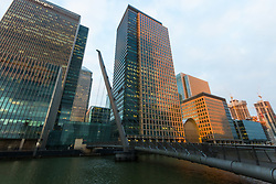 The skyscrapers of Canary Wharf catch the late afternoon sun as European markets follow US and Asian markets lower on Tuesday as investors continued to dump shares. London, February 06 2018.