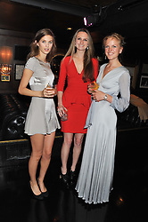 Left to right, ROSIE CAMPBELL-ADAMSON, BRYONY DANIELS and JENNY DAWSON at the launch of Beulah's collaboration with Hennessy Gold Cup and a preview of the SS13 Collection held at The Brompton Club, 92b Old Brompton Road, London SW7 on 18th October 2012.