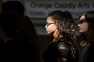"""Town of Wallkill, New York -  Port Jervis High School students get ready to sing a song from """"Into the Woods"""" during the Orange County Arts Council's All-County High School Musical Showcase and Arts Display at the Galleria at Crystal Run on Feb. 27, 2016."""