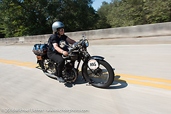 Claudia Ganzaroli riding her 1928 Moto Frera during Stage 3 of the Motorcycle Cannonball Cross-Country Endurance Run, which on this day ran from Columbus, GA to Chatanooga, TN., USA. Sunday, September 7, 2014.  Photography ©2014 Michael Lichter.