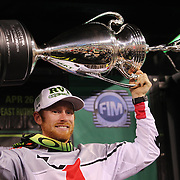 Ryan Villopoto, Monster Energy Kawasaki, after victory in round 16 of the Monster Energy AMA Supercross series held at MetLife Stadium. The win clinched Villopoto his fourth consecutive 450SX Class Championship. 62,217 fans attended the event held for the first time at MetLife Stadium, New Jersey, USA. 26th April 2014. Photo Tim Clayton