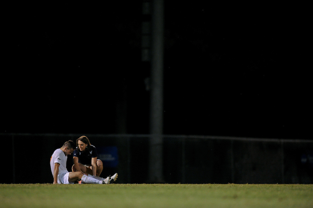 Sept. 15, 2012; Morrow, GA, USA; Clayton State men's soccer player Eilliot Prost is helped by assistant athletic trainer Laura Horsley against Flagler at CSU. Photo by Kevin Liles/kdlphoto.com