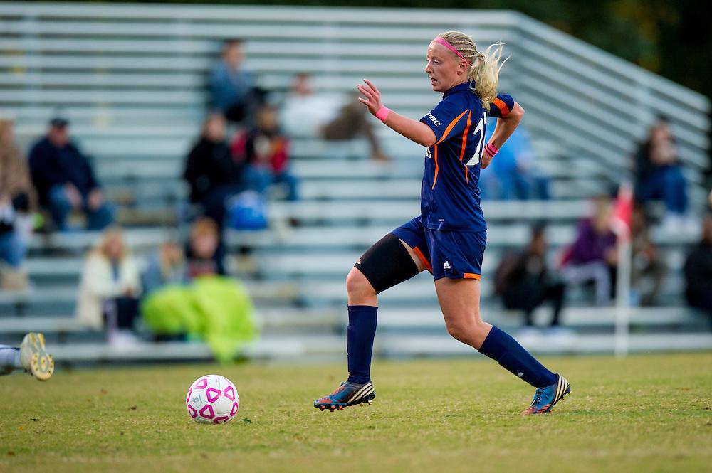 Oct 23, 2013; Morrow, GA, USA; Clayton State women's soccer player Lois Edvardsson against Georgia Southwestern at CSU. CSU won 4-0. Photo by Kevin Liles/kevindliles.com