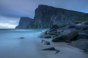 Kvalvika beach in the Lofoten Islands, long exposure