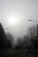 Foggy weather and early morning traffic in ballsbridge Dublin Ireland