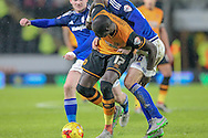 Mohamed Diamé (Hull City) holds off Matthew Connolly (Cardiff City) during the Sky Bet Championship match between Hull City and Cardiff City at the KC Stadium, Kingston upon Hull, England on 13 January 2016. Photo by Mark P Doherty.