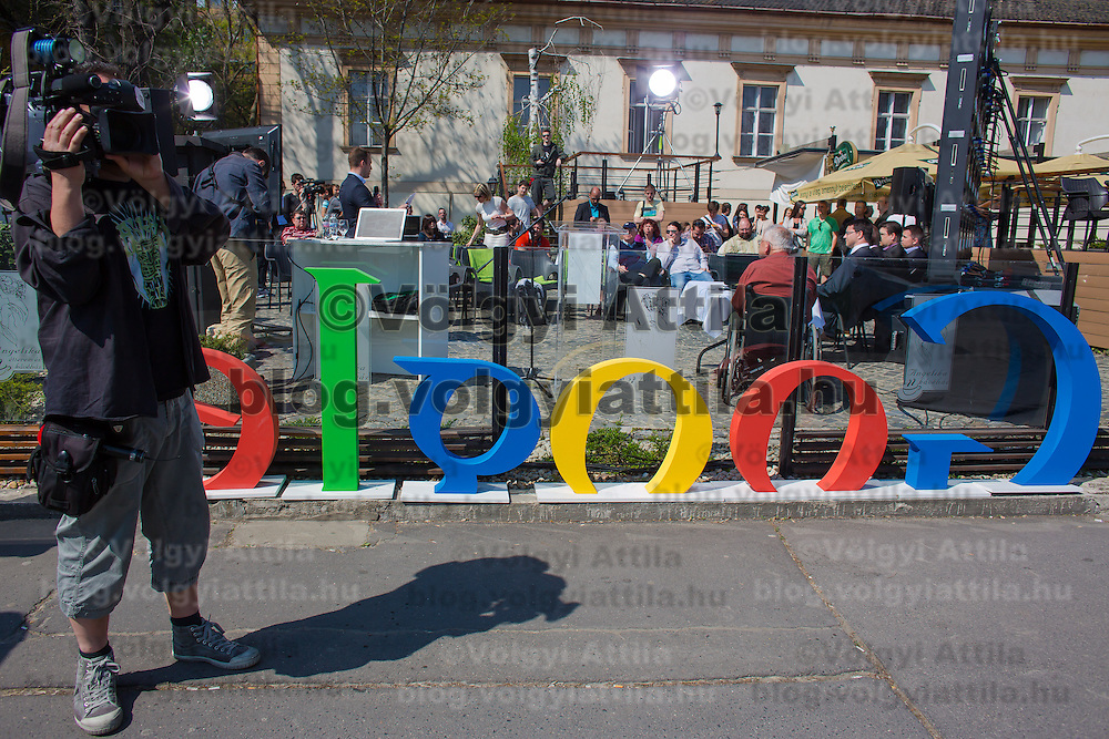 Journalists work during the press conference on the Hungarian launch of Google Street View in Budapest, Hungary on April 23, 2013. ATTILA VOLGYI