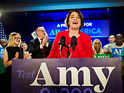 03 FEBRUARY 2020 - DES MOINES, IOWA: US Senator AMY KLOBUCHAR (D-MN) makes a speech to the people who caucused for her during her caucus night party at the downtown Marriott Hotel in Des Moines. The party was her last Iowa appearance of the primary season. Iowans made the first presidential selection picks of the 2020 election campaign with the Iowa caucuses Monday night.   PHOTO BY JACK KURTZ
