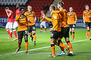 Hull City forward Jarrod Bowen (20) celebrates with teammates after scoring a goal (1-1) during the EFL Sky Bet Championship match between Charlton Athletic and Hull City at The Valley, London, England on 13 December 2019.