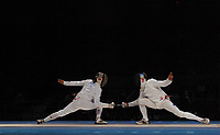 Eric Boisse (France,left) versus Pavel Kolobkov (Russia) in the Mens Epee Bronze Medal Match. Fencing, Athens Olympics, 17/08/2004. Credit: Colorsport / Matthew Impey DIGITAL FILE ONLY