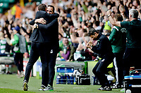19/08/15 UEFA CHAMPIONS LEAGUE PLAY-OFF 1ST LEG<br /> CELTIC V MALMO<br /> CELTIC PARK - GLASGOW<br /> Celtic manager Ronny Deila (left) hugs coach John Kennedy in celebration.