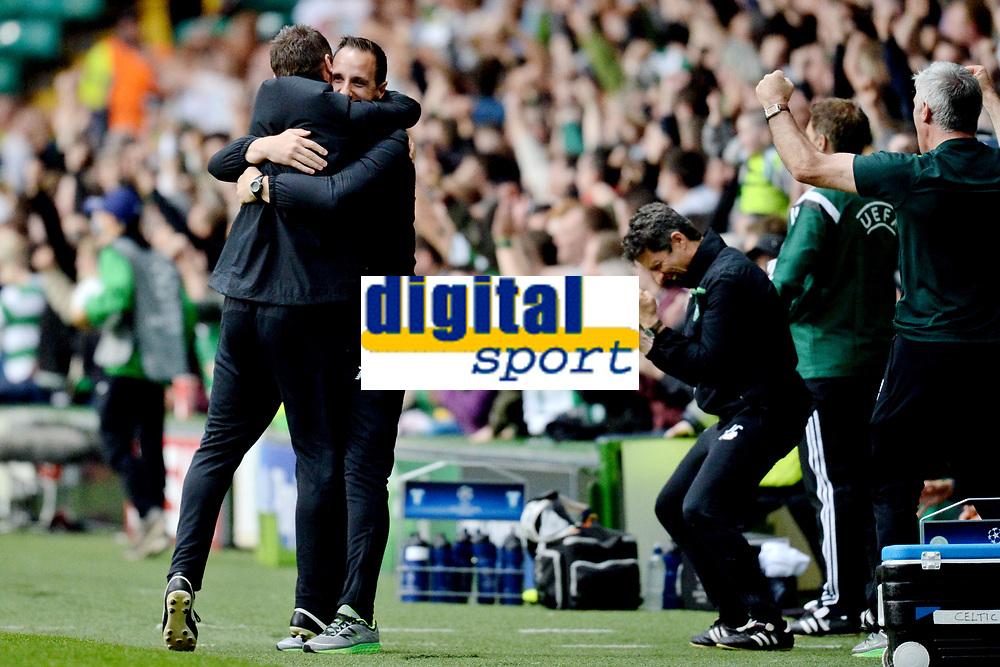 19/08/15 UEFA CHAMPIONS LEAGUE PLAY-OFF 1ST LEG<br /> CELTIC V MALMO<br /> CELTIC PARK - GLASGOW<br /> Celtic manager Ronny Deila (left) hugs coach John Kennedy in celebration.