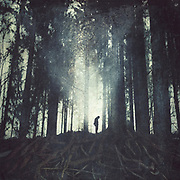 Man standing in a forest - manipulated and textured photograph