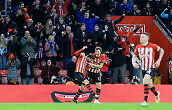 Southampton's Jack Stephens celebrates scoring his side's first goal of the game during the Premier League match at St Mary's Stadium, Southampton.