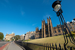 View of The Mound with New College of University of Edinburgh to rear in Edinburgh, Scotland, UK