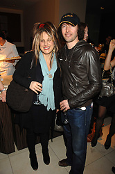 JAMES BLUNT and ELIZABETH EMANUEL at a party to celebrate the publication of Lisa B's book 'Lifestyle Essentials' held at the Cook Book Cafe, Intercontinental Hotel, Park Lane London on 10th April 2008.<br />