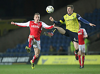 Fleetwood Town's George Glendon in action with Oxford United's John Lundstram<br /> <br /> Photographer Mick Walker/CameraSport<br /> <br /> The EFL Sky Bet League One - Oxford United v Fleetwood Town - Wednesday 5th April 2017 - Kassam Stadium - Oxford<br /> <br /> World Copyright © 2017 CameraSport. All rights reserved. 43 Linden Ave. Countesthorpe. Leicester. England. LE8 5PG - Tel: +44 (0) 116 277 4147 - admin@camerasport.com - www.camerasport.com